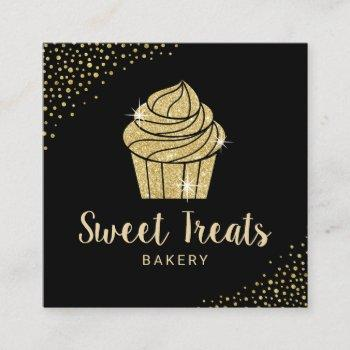 cupcake bakery pastry chef modern black & gold square business card