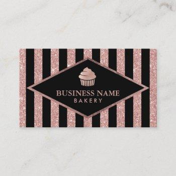 cupcake bakery rose gold glitter black stripes business card