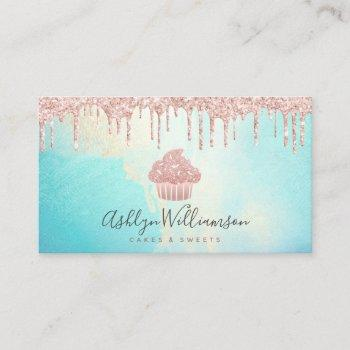 cupcake bakery rose gold glitter drips watercolor business card
