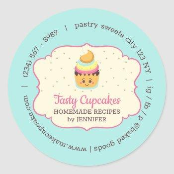 cupcake cute bakery pastry sweets classic round sticker