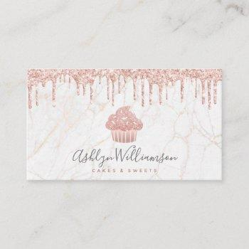cupcake rose gold glitter drips marble bakery chef business card