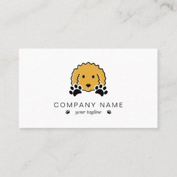 curly yellow dog with paw prints business card