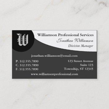 curve monogram gray business cards