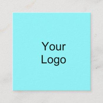 custom, add logo, cyan blue. square business card