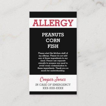 custom allergy alert restaurant emergency kids calling card