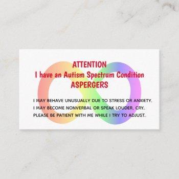 custom autism alert cards for organization/group
