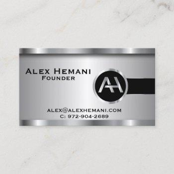 custom - black silver steel monogram business card