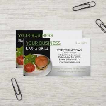 custom cheeseburger bar and grill restaurant name business card
