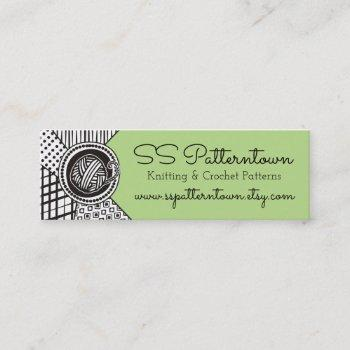 custom color mixed patterns yarn knitting crochet mini business card