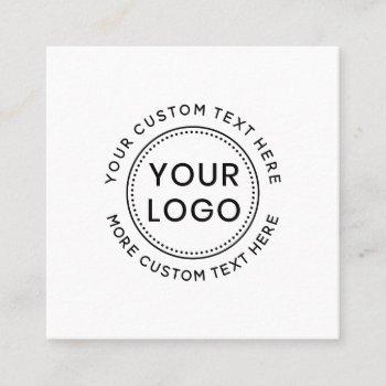 custom logo and text white or any color modern square business card