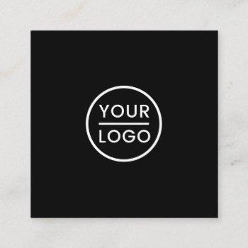custom logo, black and white, square, professional square business card