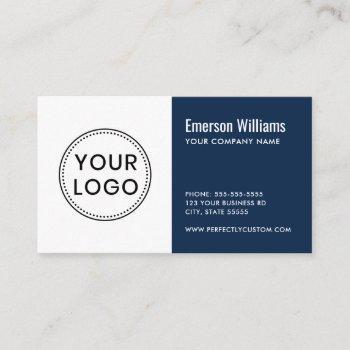 custom logo dark blue white modern minimalist business card