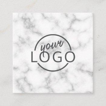 custom logo elegant marble square square business card