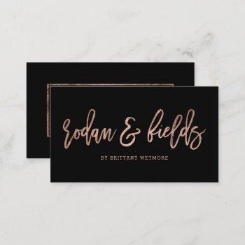 custom logo elegant rose gold typography black business card
