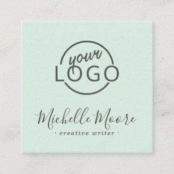 custom logo feminine minimalist light mint green square business card