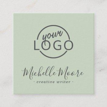 custom logo feminine minimalist light sage green square business card