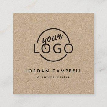 custom logo kraft paper modern minimalist square business card