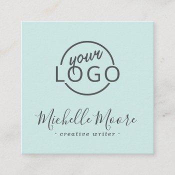 custom logo modern feminine minimalist blue square square business card