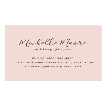Small Custom Logo Modern Feminine Minimalist Blush Pink Square Business Card Back View