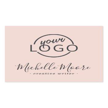 Small Custom Logo Modern Feminine Minimalist Blush Pink Square Business Card Front View