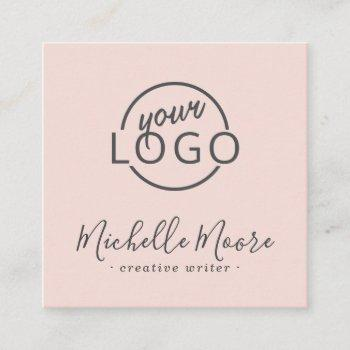 custom logo modern feminine minimalist blush pink square business card