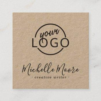 custom logo modern feminine minimalist kraft paper square business card