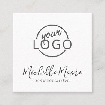 custom logo modern feminine minimalist white square business card