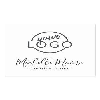 Small Custom Logo Modern Feminine Minimalist White Square Business Card Front View
