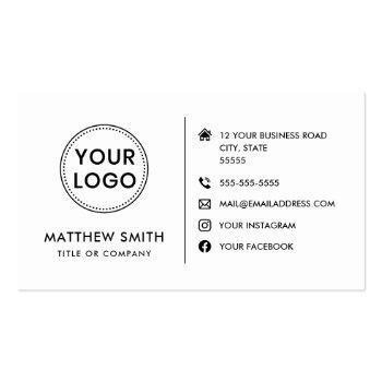 Small Custom Logo Modern Minimalist Social Media Icons Business Card Front View