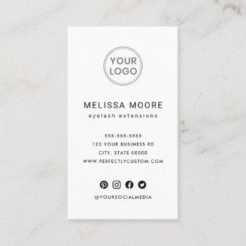 custom logo modern minimalist white vertical business card