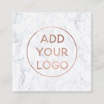 custom logo modern rose gold chic white marble square business card