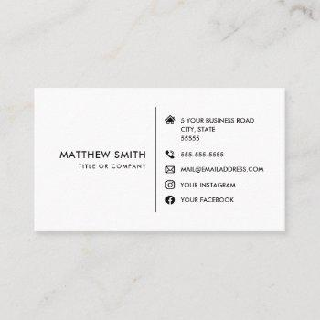 custom logo modern white social media icons business card