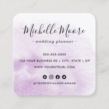 custom logo purple watercolor social media icons square business card