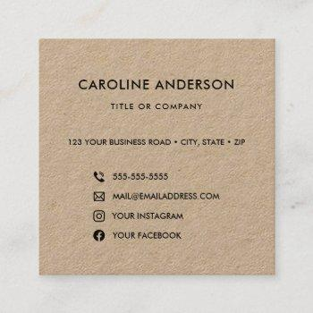 custom logo rustic kraft social media icons square square business card