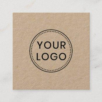 custom logo rustic kraft square professional square business card