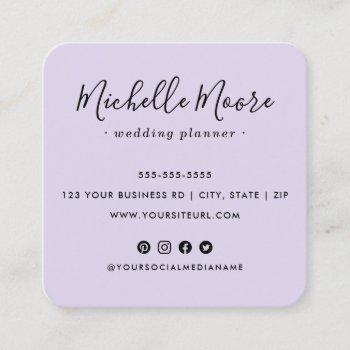 custom logo social media icons elegant purple square business card
