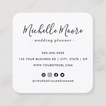 custom logo social media icons elegant white square business card
