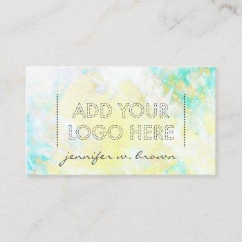 custom logo watercolor green yellow essential oils business card