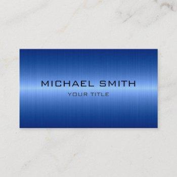 custom monogram cool blue stainless steel metal business card