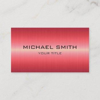 custom monogram red stainless steel metal business card
