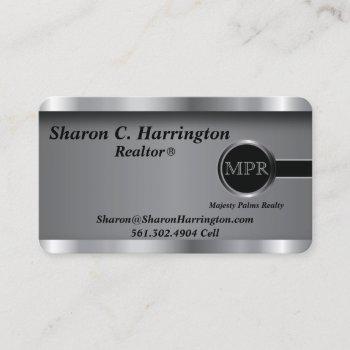 custom order  - executive black steel monogram business card