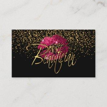custom order - gold confetti & hot pink lips business card