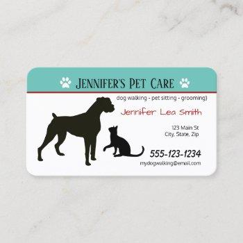 custom pet business cards - pet & dog care