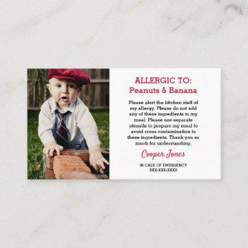 custom photo allergy alert restaurant emergency calling card