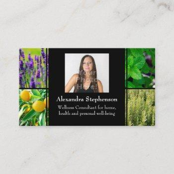 custom photo essential oils business consultant business card