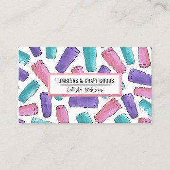custom pink purple teal tumbler watercolor crafter business card