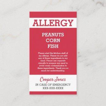 custom red allergy alert restaurant emergency calling card