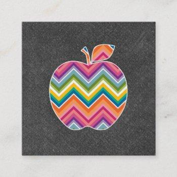 custom teacher apple with trendy chevron pattern square business card