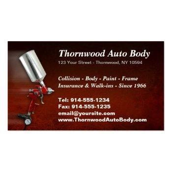 Small Customizable Auto Body Bc Business Card Back View