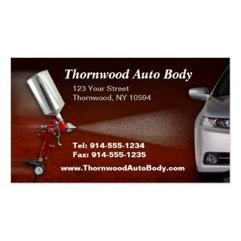 Small Customizable Auto Body Bc Business Card Front View